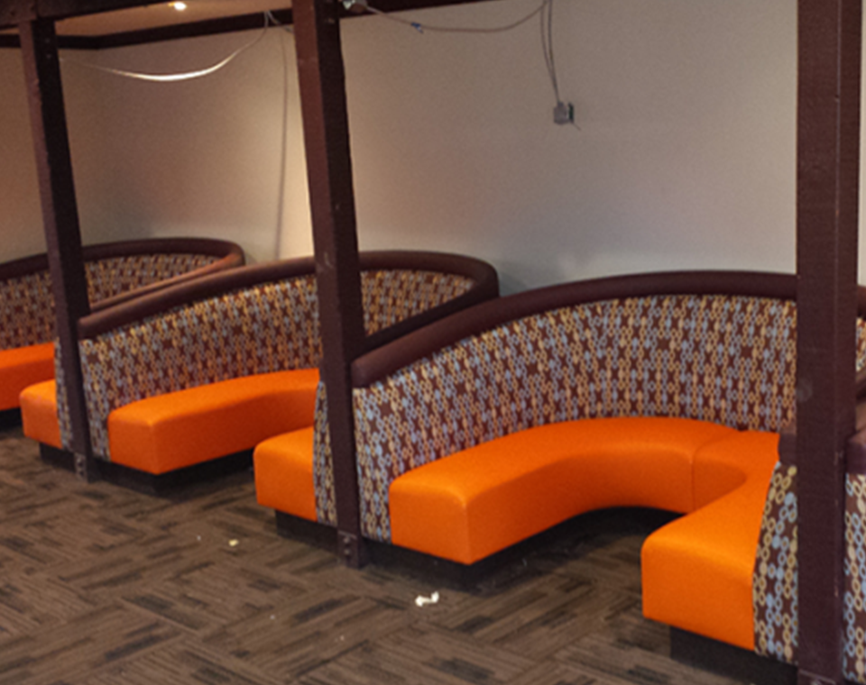 Custom U Shaped Booths by Mega Seating and Design.